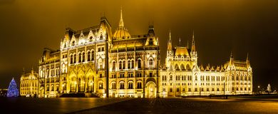 Christmas lights at the Parliament House in Budapest, Stock Photo