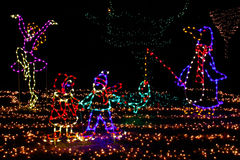 Christmas Lights - Penguin, Skater, Kids! Royalty Free Stock Photos