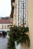 Christmas Lights. Picturesque house decorated with Christmas lights for Advent in Zagreb Upper Town, Croatia. Selective focus. Advent in Zagreb Fair was voted as stock image