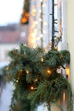 Christmas Lights. Picturesque house decorated with Christmas lights for Advent in Zagreb Upper Town, Croatia. Selective focus. Advent in Zagreb Fair was voted as royalty free stock images