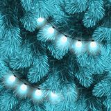 Christmas lights on pine branches. Garland lights decorations, spruce fir tree. Winter holiday xmas backdrop Stock Image
