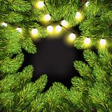 Christmas lights on pine branches. Garland lights decorations and spruce fir tree. Winter Holiday xmas mock-up and backdrop. Christmas tree branches frame Stock Photos