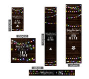 Christmas lights poster with shining. And glowing garlands on wooden background Lettering Merry Christmas and a Happy New Year. Web banner vector illustration Royalty Free Stock Photography