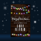 Christmas lights poster with shining Royalty Free Stock Photography