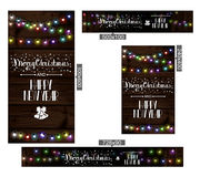 Christmas lights poster with shining. And glowing garlands on wooden background Lettering Merry Christmas and a Happy New Year. Web banner vector illustration Stock Photography