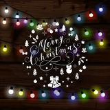 Christmas lights poster with shining and glowing garlands. On wooden background Lettering Merry Christmas. Web banner vector illustration Stock Photography