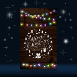 Christmas lights poster with shining and glowing garlands. On wooden background Lettering Merry Christmas. Web banner vector illustration Stock Image