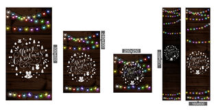 Christmas lights poster. With shining and glowing garlands on wooden background Lettering Merry Christmas. Web banner vector illustration Royalty Free Stock Images