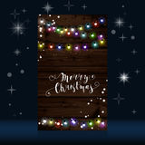Christmas lights poster with shining and glowing garlands. On wooden background Lettering Merry Christmas. Web banner vector illustration Royalty Free Stock Image