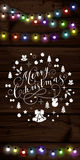 Christmas lights poster with shining and glowing garlands. On wooden background Lettering Merry Christmas. Web banner vector illustration Royalty Free Stock Photography