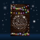 Christmas lights poster with shining and glowing garlands Royalty Free Stock Photos