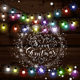 Christmas lights poster with shining and glowing garlands Royalty Free Stock Images