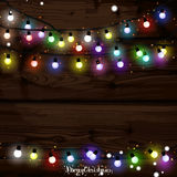 Christmas lights poster with shining and glowing garlands Stock Photo
