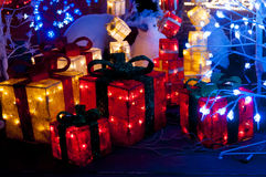 Christmas lights in a present shape. Christmas present boxes with lights inside Royalty Free Stock Photo