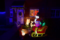 Christmas lights. Public holidays home lighting, crib, colored lights, Santa Claus, reindeer, snowman, little Jesus, the saints, the star of Bethlehem, a Royalty Free Stock Images