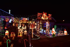 Christmas lights. Public holidays home lighting, crib, colored lights, Santa Claus, reindeer, snowman, little Jesus, the saints, the star of Bethlehem, a Stock Images
