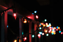 Christmas lights on a rail Royalty Free Stock Photos