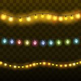 Christmas lights  realistic design elements. Glowing lights for Xmas Holiday greeting card design. Garlands. Christmas decorations. Vector illustration Royalty Free Stock Photography