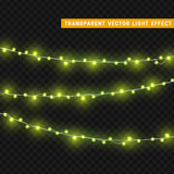 Christmas lights  realistic design elements. Glowing lights for Xmas Holiday greeting card design. Garlands, Christmas decorations Stock Photo