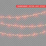Christmas lights  realistic design elements. Glowing lights for Xmas Holiday greeting card design. Garlands, Christmas decorations Royalty Free Stock Photo