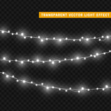 Christmas lights  realistic design elements. Glowing lights for Xmas Holiday greeting card design. Garlands, Christmas decorations Stock Photos