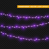 Christmas lights  realistic design elements. Glowing lights for Xmas Holiday greeting card design. Garlands, Christmas decorations Stock Image