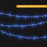Christmas lights  realistic design elements. Glowing lights for Xmas Holiday greeting card design. Garlands, Christmas decorations Stock Images