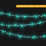 Christmas lights  realistic design elements. Glowing lights for Xmas Holiday greeting card design. Garlands, Christmas decorations Royalty Free Stock Photos