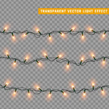 Christmas lights  realistic design elements. Glowing lights for Xmas Holiday greeting card design. Garlands, Christmas decorations. Christmas decoration Stock Images