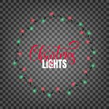 Christmas lights. Realistic design elements for Xmas.. Glowing lights for winter holidays. Shiny garlands for Christmas and New Year Royalty Free Stock Image