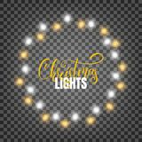 Christmas lights. Realistic design elements for Xmas.. Glowing lights for winter holidays. Shiny garlands for Christmas and New Year Royalty Free Stock Photography