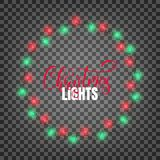 Christmas lights. Realistic design elements for Xmas. Glowing lights for winter holidays. Shiny garlands for Christmas. And New Year Stock Photo
