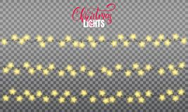Christmas lights. Realistic string lights design elements of star shape lamps. Glowing lights for winter holidays. Shiny. Garlands for Xmas and New Year vector illustration
