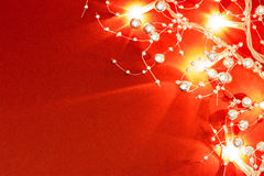 Christmas lights on red Royalty Free Stock Image