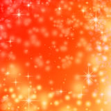 Christmas lights on red background snowflakes. Christmas lights on red background with delicate stars, snowflakes, sparkles and bokeh bubbles Stock Photos