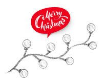 Christmas lights and red lettering banner. Hand drawn pencil illustration of Christmas lights and red lettering banner on white background Stock Photos