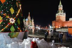 Christmas lights on red Square, Moscow, Russia stock photo