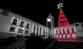 Christmas Lights, Red Tree in Povoa de Lanhoso. Christmas Lights, Red Tree in Povoa de Lanhoso, Braga, Portugal royalty free stock photos
