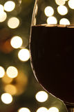 Christmas Lights and Red Wine Stock Image