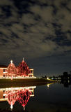 Christmas Lights Reflected In Lake Stock Images