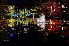 Christmas Lights Reflecting in Pool at Night Surrounded by Darkn royalty free stock photography