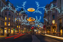 Christmas lights on Regent Street, London, UK Royalty Free Stock Images