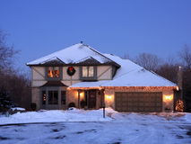 Christmas lights and residential house Stock Image