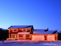 Christmas lights and residential house Royalty Free Stock Image