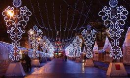 Christmas lights in Saint Petersburgs street Stock Photos