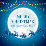 Christmas lights and Santa on Moon background Royalty Free Stock Image