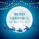 Christmas lights and Santa on Moon background Royalty Free Stock Image