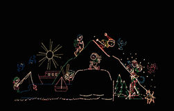 Christmas lights scene Stock Images