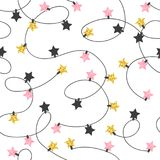 Christmas lights seamless pattern. Vector background with garland Stock Photos