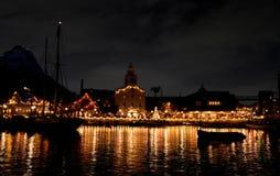 Christmas lights. Christmas season at night royalty free stock photography